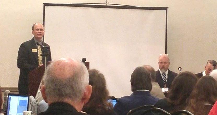 Wes Benedict speaks to LPF convention
