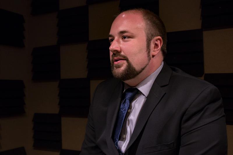 Libertarian gubernatorial candidate Marco Battaglia in Iowa Public Radio's studio. 5/3/2018 Photo by John Pemble
